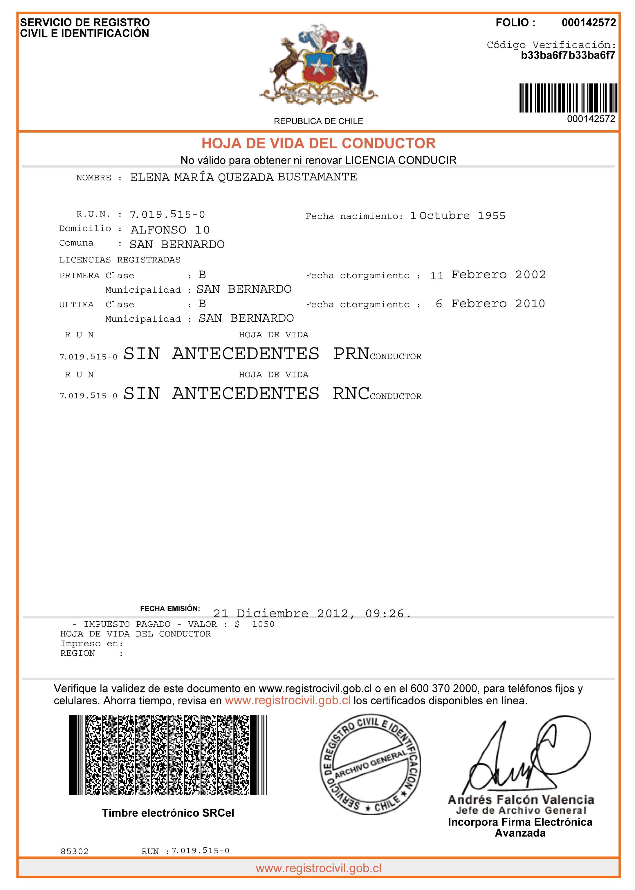 Registro Civil anuncia Hoja de Vida del Conductor on line   El ...
